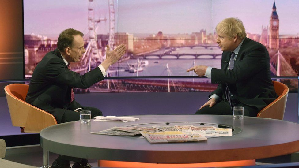 Andrew Marr questions Boris Johnson on the Andrew Marr Show