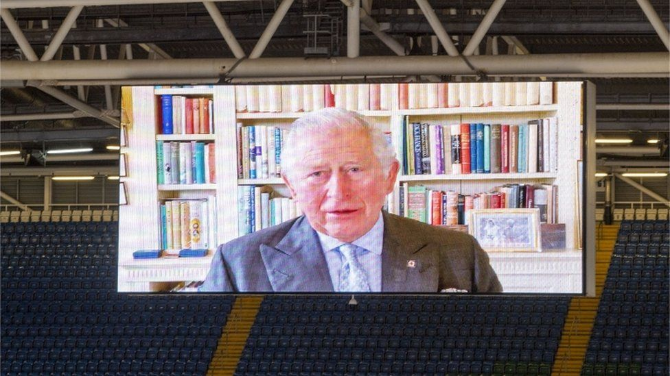A pre-recorded message from Prince Charles was played on a big screen during the opening ceremony