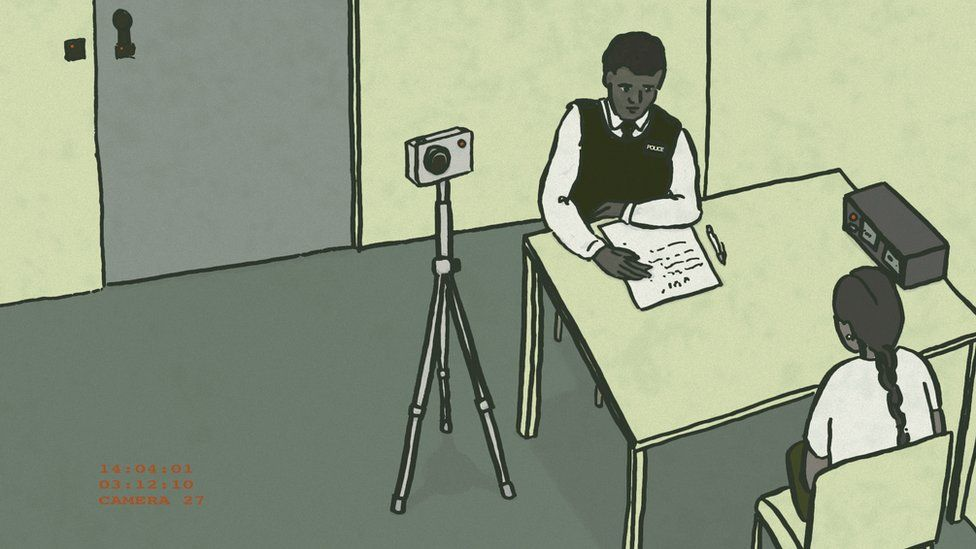 Illustration of a girl being interviewed in a police station