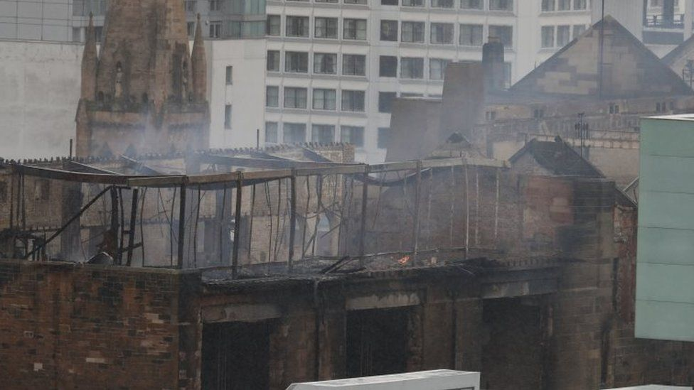 Burnt-out art school building