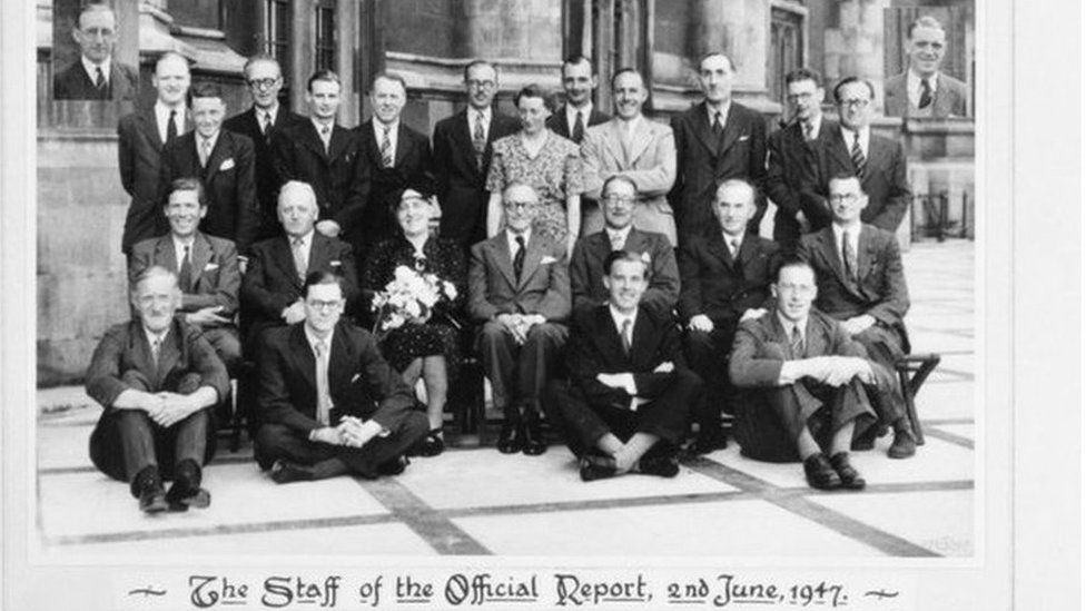 Jean Winder and the Hansard team from 1947