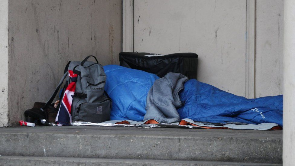 Rough sleeper in London