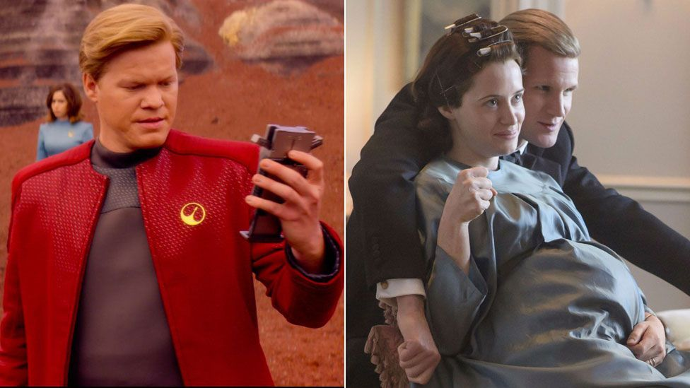 Jesse Plemons in Black Mirror and Claire Foy with Matt Smith in The Crown