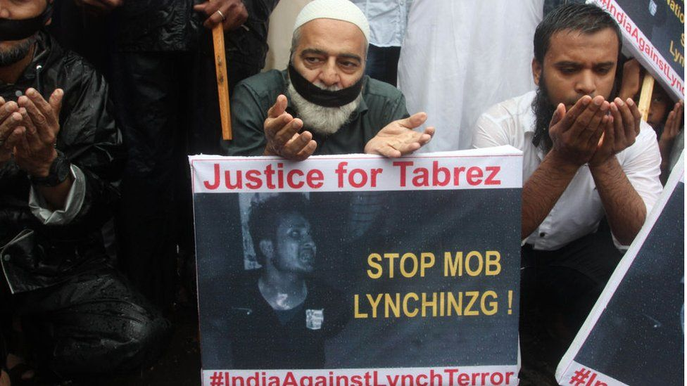 A Muslim protest in Mumbai on 28 June against the recent mob lynching of Tabrez Ansari in Jharkhand state