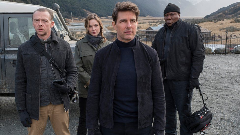 From left to right: Simon Pegg, Rebecca Ferguson, Tom Cruise and Ving Rhames