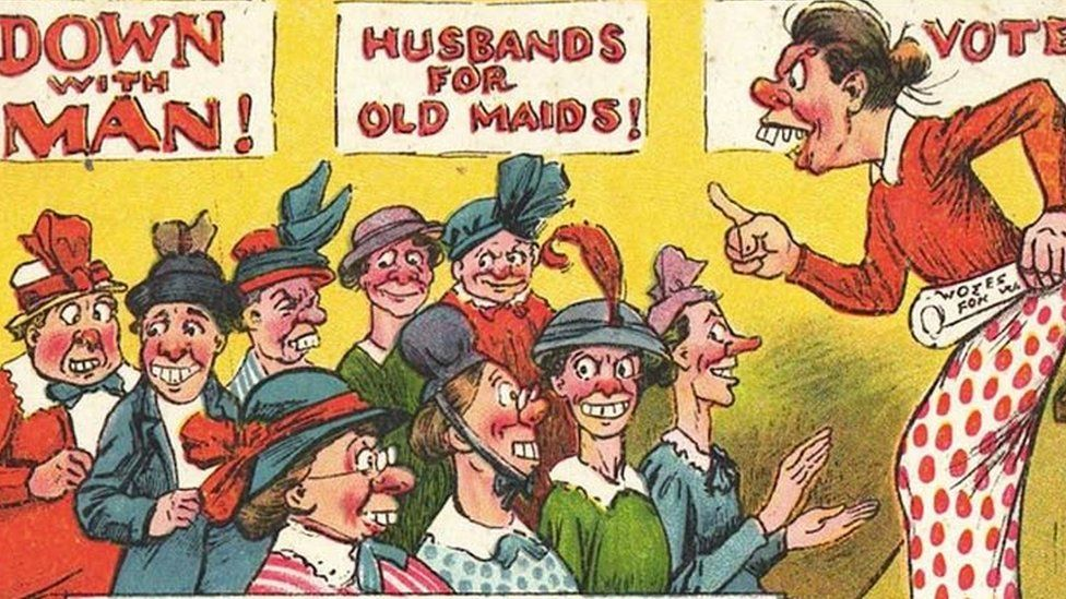 Postcard showing ugly women