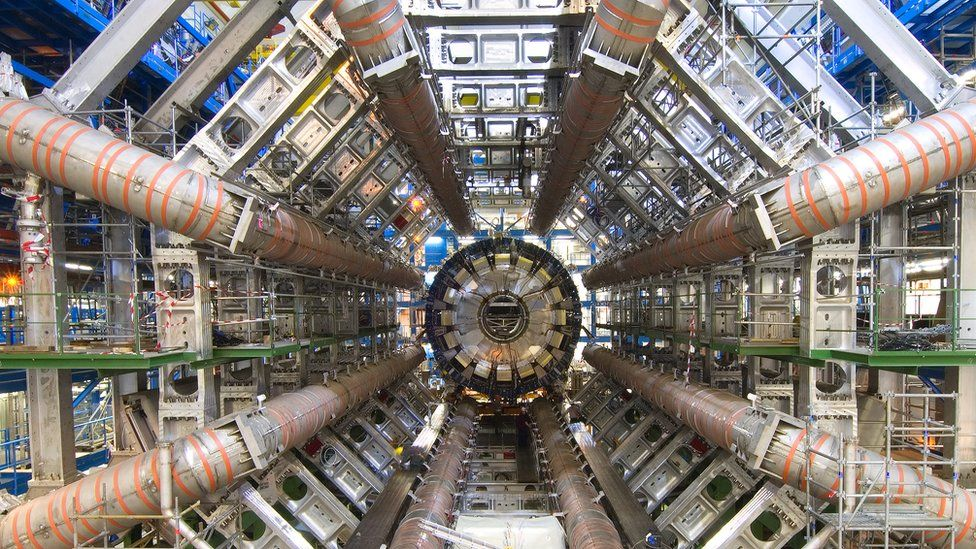 view inside the Atlas experiment at Cern