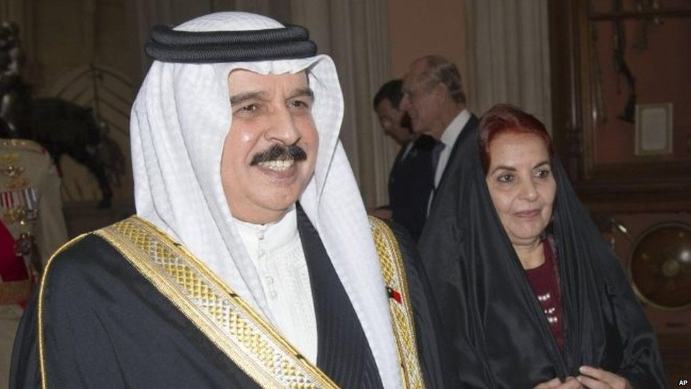 King Hamad of Bahrain at a lunch in Windsor Castle (May 2012)