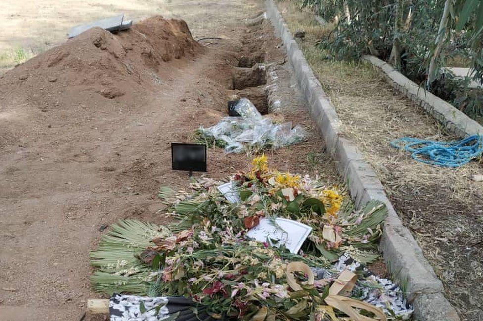 Freshly drug graves at Khavaran cemetery in south-eastern Tehran, Iran