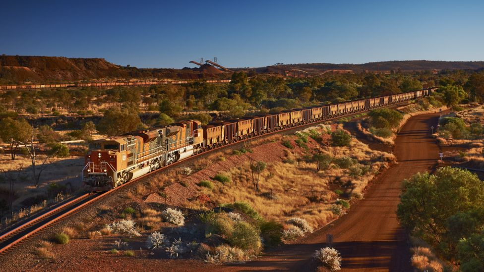 A BHP train at Newman mine in Western Australia