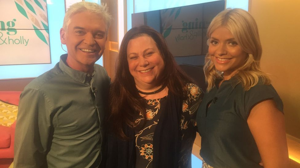 Sarah Bowles pictured with Phillip Schofield and Holly Willoughby