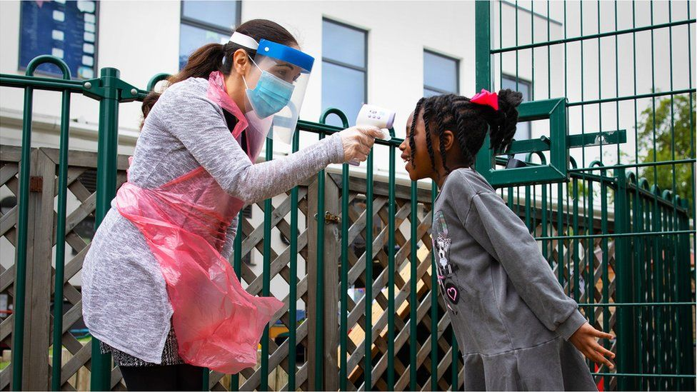 Temperature testing on a pupil at a school in London