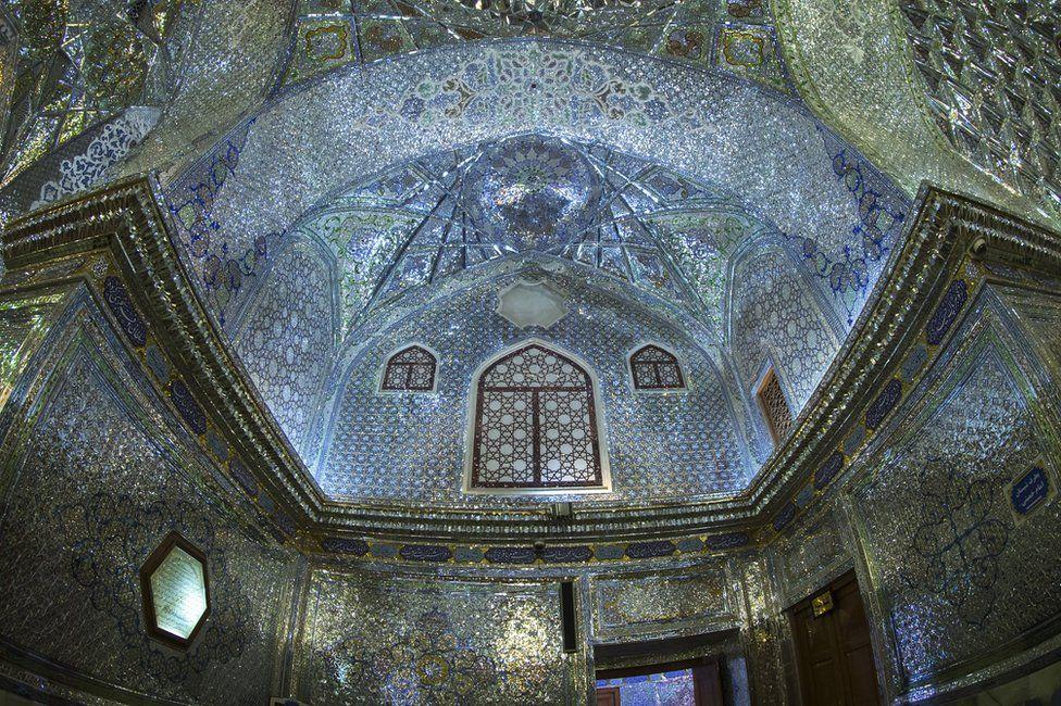 Shah Cheragh mausoleum ceiling in Shiraz, Iran