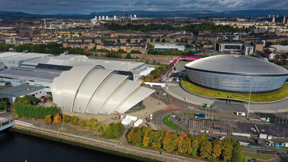 Aerial view of Scottish Events Centre in Glasgow