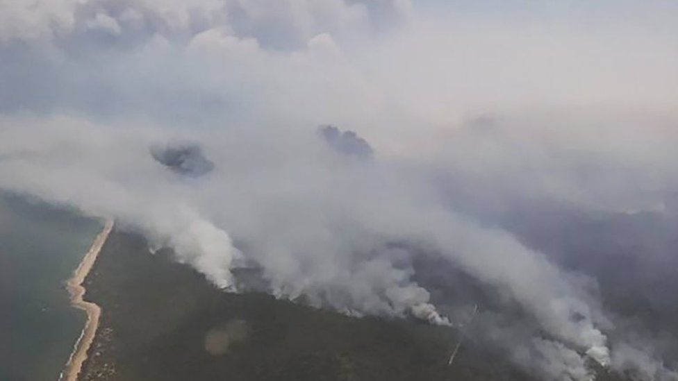 An aerial view of smoke from a bushfire in Queensland