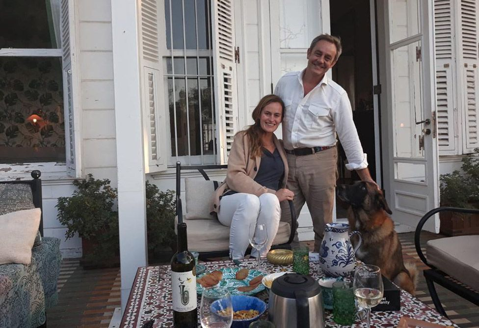 Emma Winberg and James Le Mesurier at home