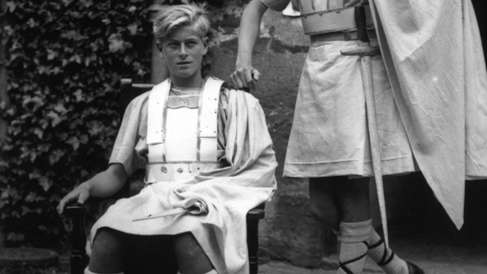 Prince Philip in costume for a production of Macbeth at Gordonstoun in July 1935