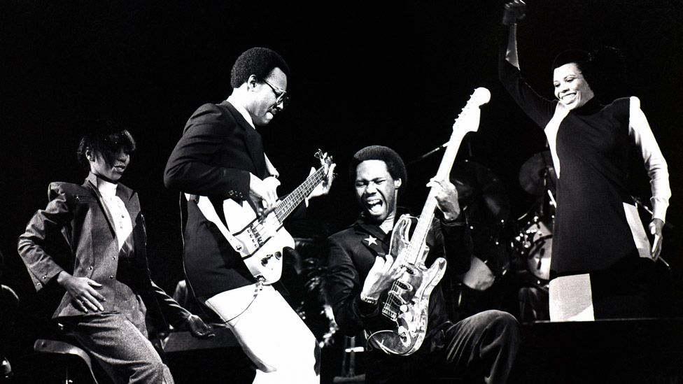 Nile Rodgers (second right) on stage with Chic in 1979