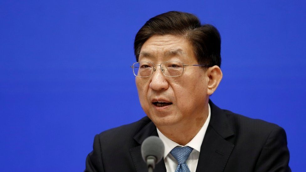 """Zeng Yixin, vice minister of China""""s National Health Commission, attends a news conference on the origin-tracing of the coronavirus disease"""