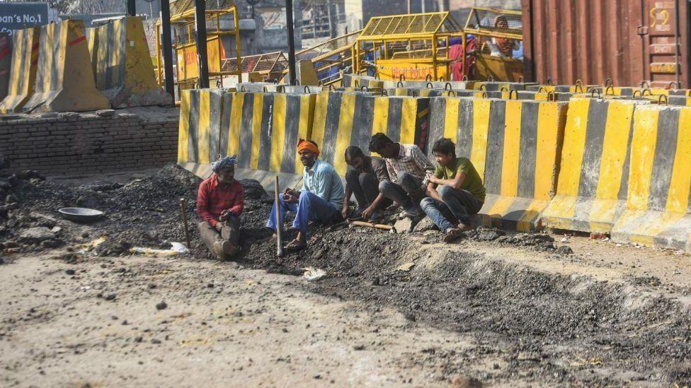 The road being dug at Singhu