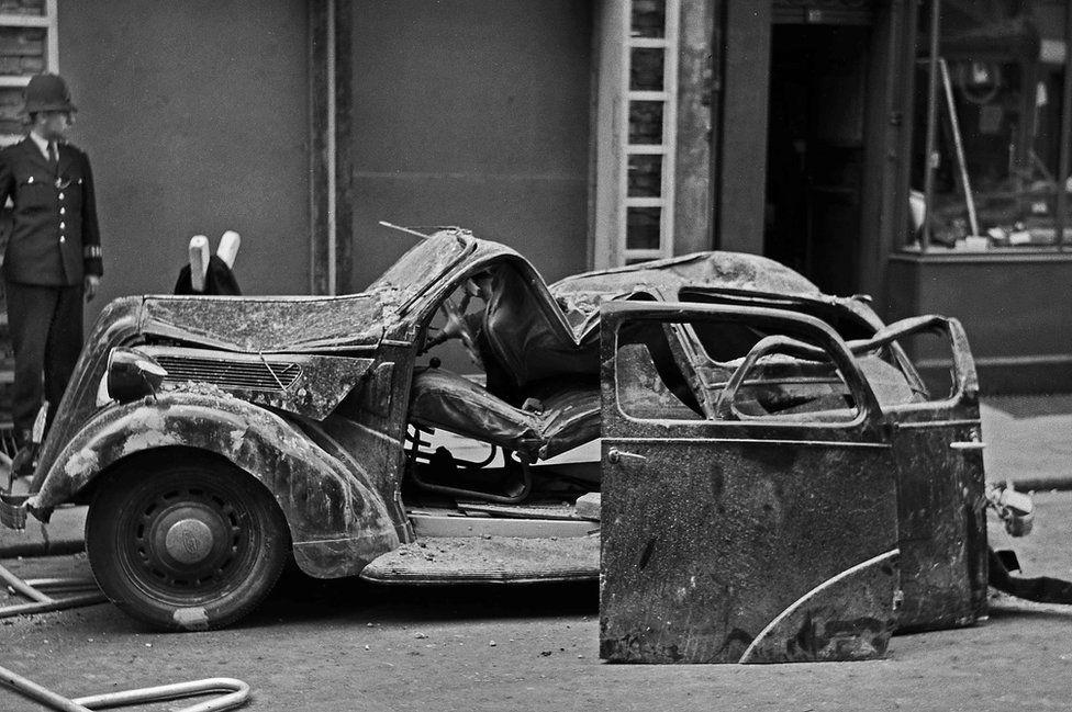 Crushed car, Howland Street, London, 1958