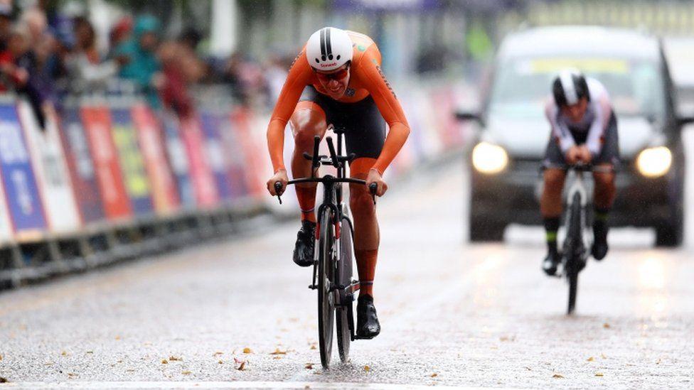 Ellen Van Dijk of the Netherlands crosses the finish line
