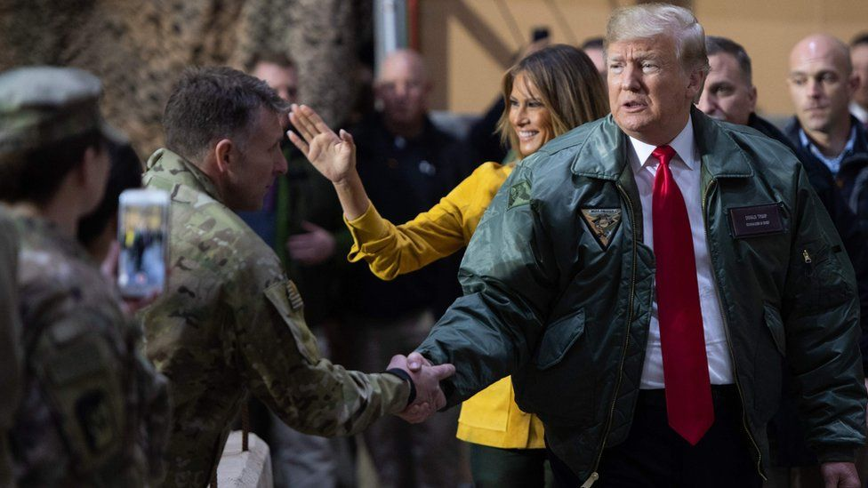 US President Donald Trump and First Lady Melania Trump visited Al Asad Airbase in Iraq on 26 December 2018