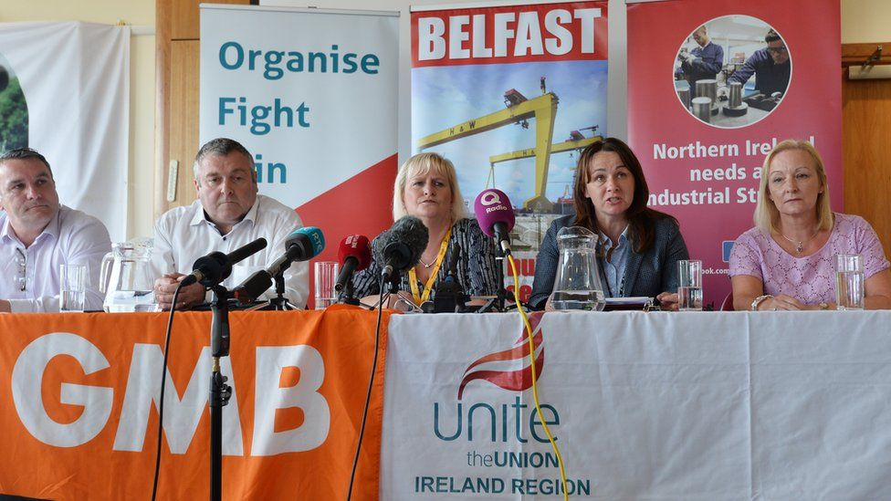 Unions representing H&W workers held a press conference on Monday