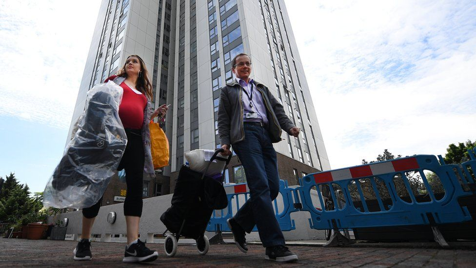 Residents leave the Chalcots Estate in Camden, after being evacuated