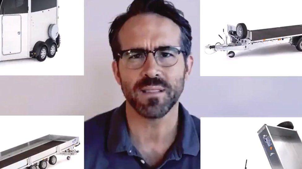 Ryan Reynolds yn ei hysbyseb Twitter i gwmni Ifor Williams Trailers