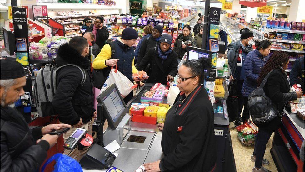 Busy tills at a UK supermarket