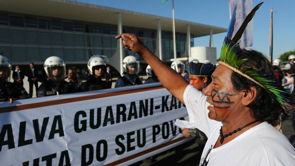 A Guarani leader denounces the murder of indigenous leader Simao Vilhalva during a protest in front of the Planalto Presidential Palace, in Brasilia, Brazil, 1 September 2015.