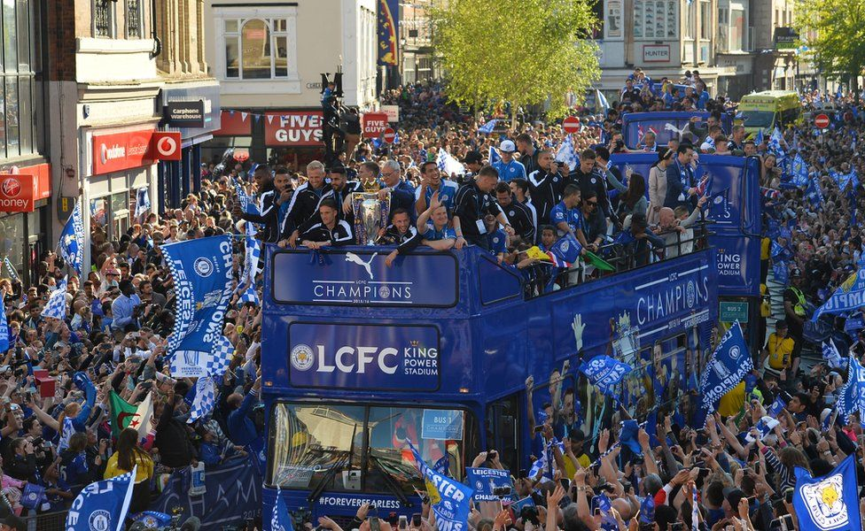 Bus parade in Leicester