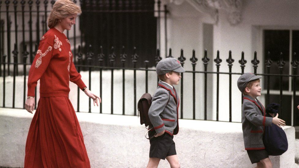Princes William and Harry with their mother Princess Diana on Harry's first day at the Wetherby School in Notting Hill, West London