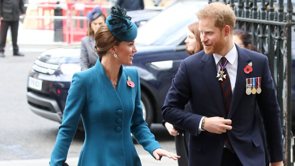 Duchess of Cambridge and the Duke of Sussex attend the ANZAC Day Service of Commemoration at Westminster Abbey