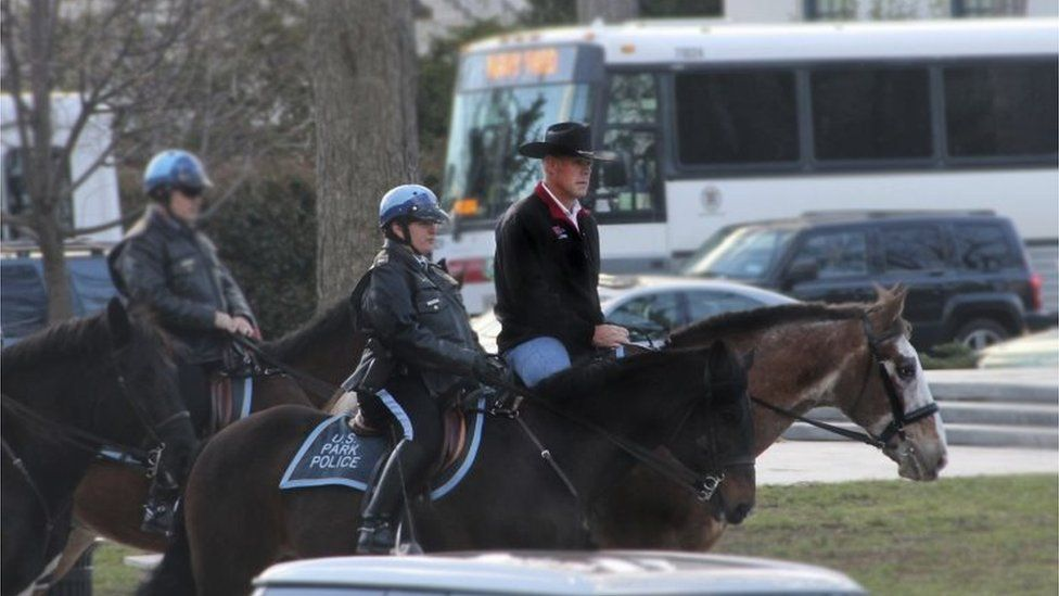 Interior Secretary Ryan Zinke arrives for his first day of work in Washington, DC.