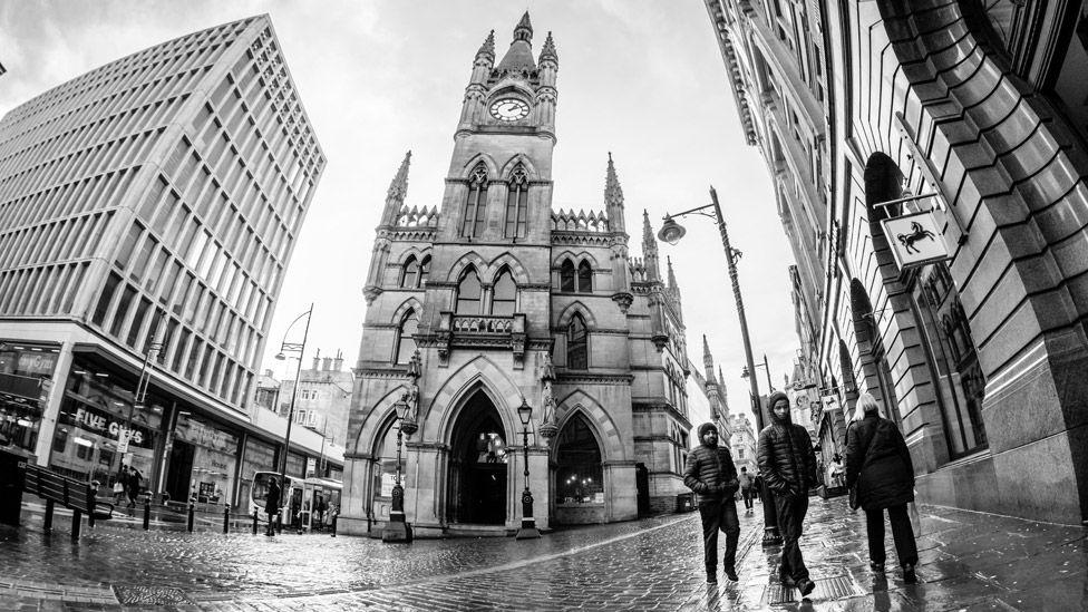 Bradford street with Wool Exchange centre