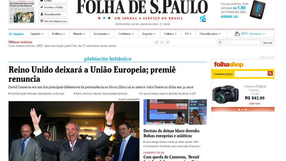 Screen grab of Folha de Sao Paulo online edition