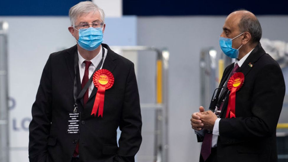 First Minister Mark Drakeford at his count in Cardiff