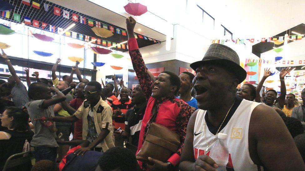 French football fans in Abidjan, Ivory Coast - Sunday 15 July 2018