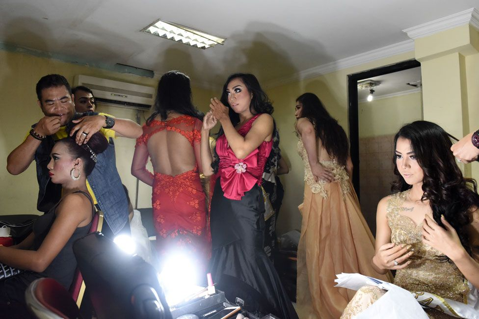 Getting changed at Miss Waria Indonesia