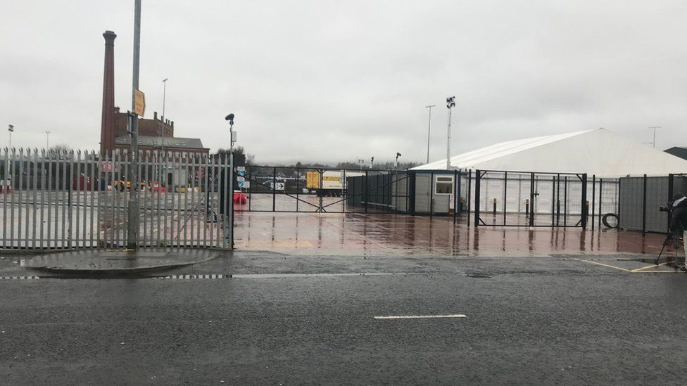 The gates were closed at the Daera site at Duncrue Street on Tuesday