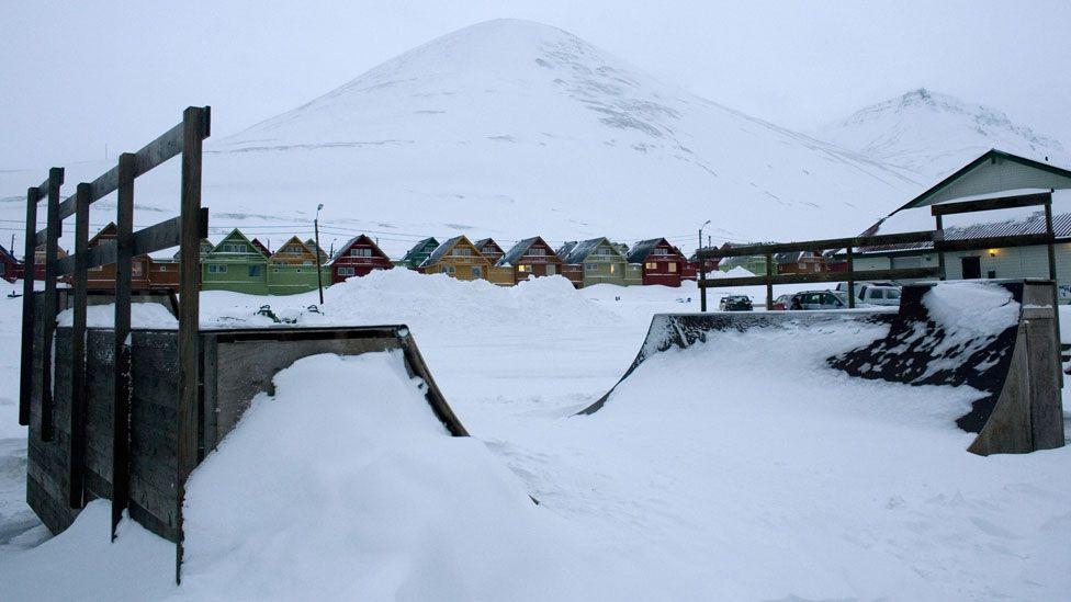 Longyearbyen, Norway - skateboarding park under snow