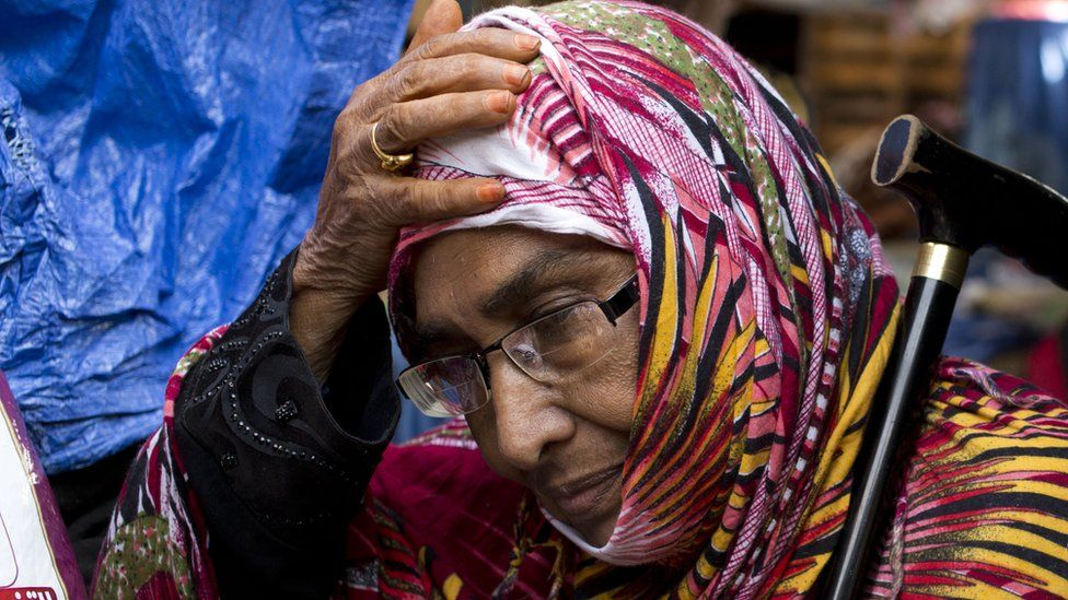A woman who's arrived from Yemen in Bossasso, Somalia