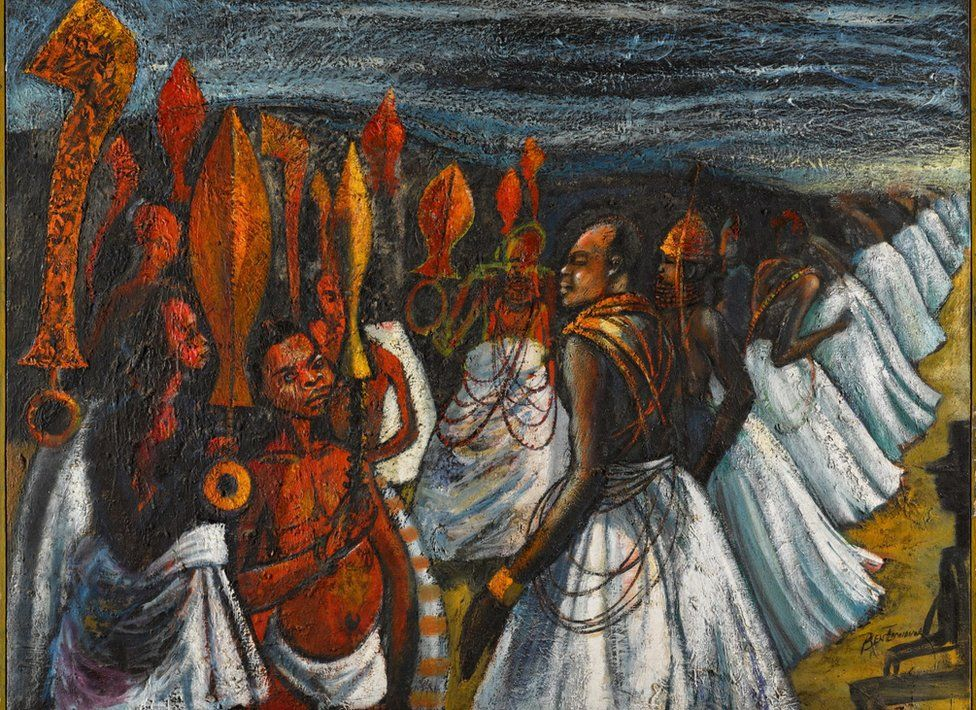 The Court of the Oba of Benin painting