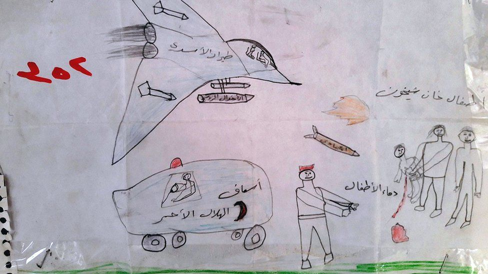 A drawing made by a Syrian refugee boy shows a warplane, an ambulance and missiles in the direction of two people carrying a wounded child.