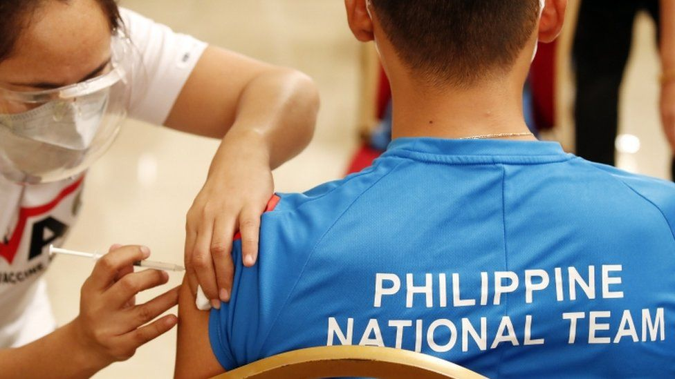 Philippine athletes bound for the Tokyo Olympics and Southeast Asian Games were vaccinated against COVID-19.