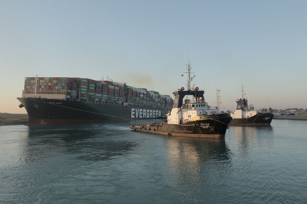 The container ship Ever Given after it was partially refloated in the Suez Canal, Egypt, 29 March 2021