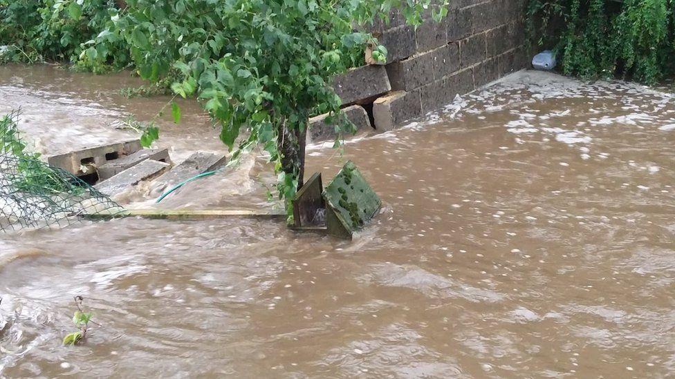 Flood water in Leyburn
