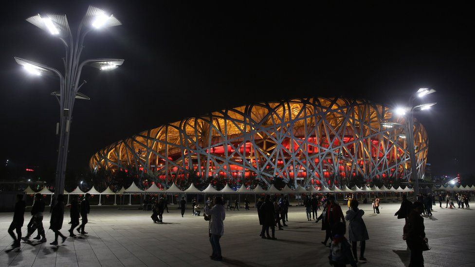 A view of the National Stadium (Bird's Nest) moments before Earth Hour in Beijing, China, 24 March 2018.